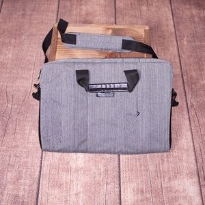 Grey & Black Canvas Laptop Shoulder Bag With Strap